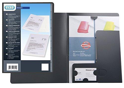 ELBA 100420932 Angebotsmappe 10er Pack mit Visitenkartenhalter aus Kunststoff anthrazit