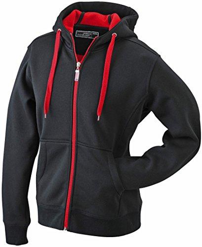 JN354-1 Ladies´ Doubleface Jacke Sweatjacke Kapuze Sweatshirt M,black-red
