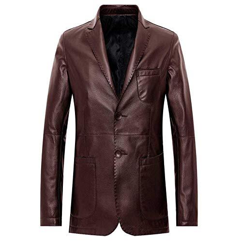 Lederjacke Men's Leather Ziegenleder Leder Lange Business Casual Anzug Jacke 2 Schnalle Leder, Rot-Braun, 170/88 46 (A)
