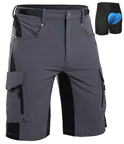 Cycorld MTB Hose Herren Radhose, Schnelltrocknend Mountainbike Hose Fahrradhose mit 4D Sitzpolster, Elastische Outdoor Sport Herren Radlerhose MTB Bike Shorts (Grau 06, L)