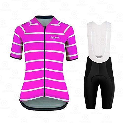 Jersey de ciclismo de ciclismo de secado rápido para mujer con manga corta a rayas camisa de bicicleta + pantalones cortos de babero con kit de ropa de montar de MTB acolchado de gel 19D