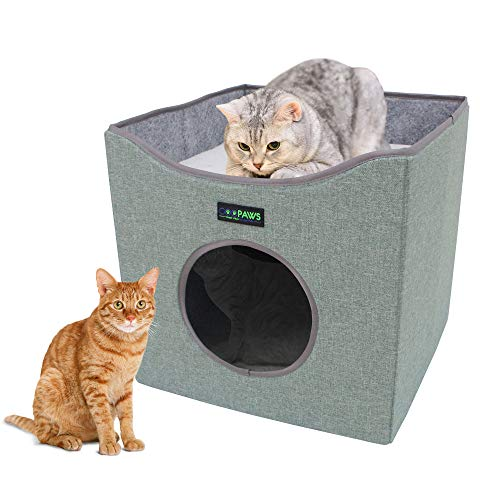 JESPET Foldable Cat Condo, Cat Cube House & Sleeper Bed with Lying Surface 2 Reversible Cushions,...