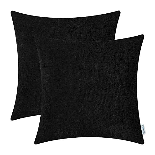 CaliTime Pack of 2 Cozy Throw Pillow Covers Cases for Couch Sofa Home Decoration Solid Dyed Soft Chenille 18 X 18 Inches Black