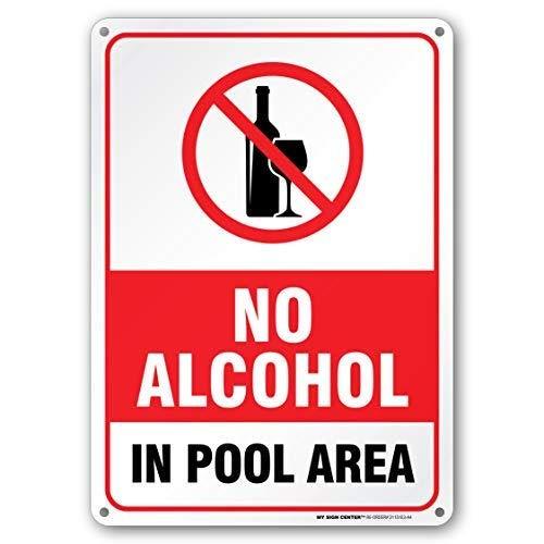 """Schild mit Aufschrift """"No Alcohol in Pool Area, Swimming Pool Rules"""", 25,4 x 35,6 cm, Geschenk, robustes Metall, UV-geschützt und wetterfest"""