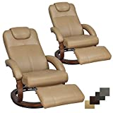 RecPro Charles 28' RV Euro Chair Recliner Modern Design RV Furniture RV Recliner (2 Chairs, Toffee)