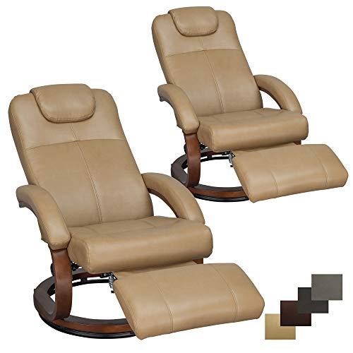 RecPro Charles 28' RV Euro Chair Recliner Modern Design RV Furniture (2, Toffee)