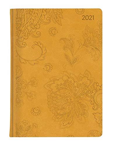 Ladytimer Deluxe Honey 2021 - Taschen-Kalender A6 (11x15 cm) - Tucson Einband - Motivprägung Blüten - Weekly - 192 Seiten - Alpha Edition