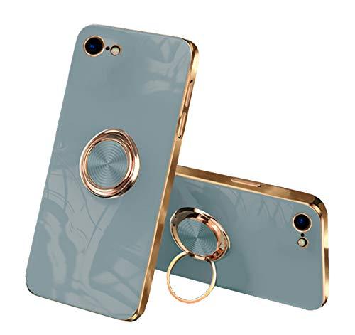 Funda para teléfono móvil compatible con Apple iPhone 7, iPhone 8, silicona, carcasa fina para iPhone 7, iPhone 8, carcasa de TPU suave, funda negra con soporte magnético para coche (azul, iPhone 7)