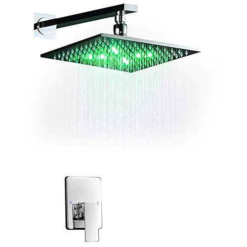 BTSSA Duschsystem, LED-Licht-Duschhahn, Wandmontage Schwarz-Regenduschsäule Messing-Regenduschkopf Embedded-Box-Steuerventil,10 Zoll Duschkopf