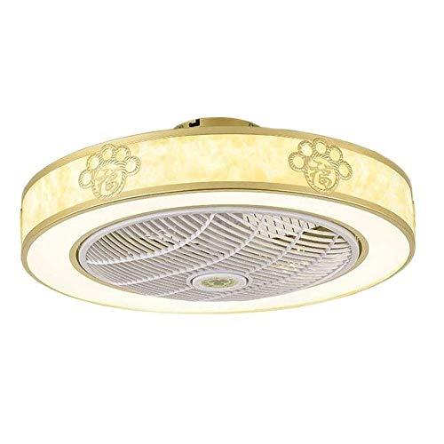 DLGGO Ventiladores de techo chinos de lujo con rubor LED luces de techo moderno montaje ligero, con distancia regulable Control Mute Timer fina lámpara del ventilador, ventilador de la lámpara for la