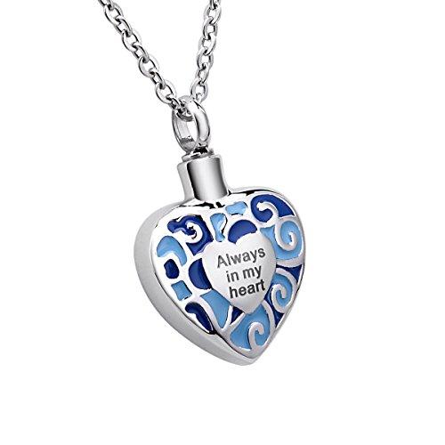 """Grabado""""Siempre en Mi Corazón Memorial urna Collar con colgante cremación joyas acero inoxidable desmontable, azul"""