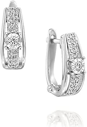 14K Solid White Gold Diamond Hoop Earrings - Double Row Pave Style With Prong Set Diamond In The Center - Hinged Back Setting - Mother's Day Gift (2.8g, 0.27 ctw, 42 stones)