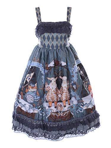 Kawaii-Story JSK-79 - Disfraz de hadas de fantasa, color azul y gris oscuro