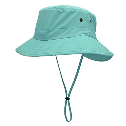 LLmoway Outdoor UPF50+ Summer Sun Cap Lightweight Packable Dry Fit Bora Boonie Hat with Cords AQU Aqua Blue