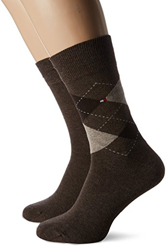 Tommy Hilfiger Herren TH Men Check 2P Socken, Braun (Oak 778), 43-46 (2er Pack)