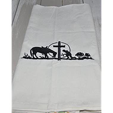 Cowboy and Horse Praying at Cross Embroidery Kitchen Towel