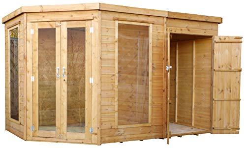 Green Planet UK - 11x7 Corner Summerhouse, tuinkast met zijschuur - FSC gecertificeerd hout, dubbele deuren, 12mm T&G Bekleding, Styreen geglazuurd veiligheidsglas (11x7 / 11ft x 7ft) 3-5 dagen levering