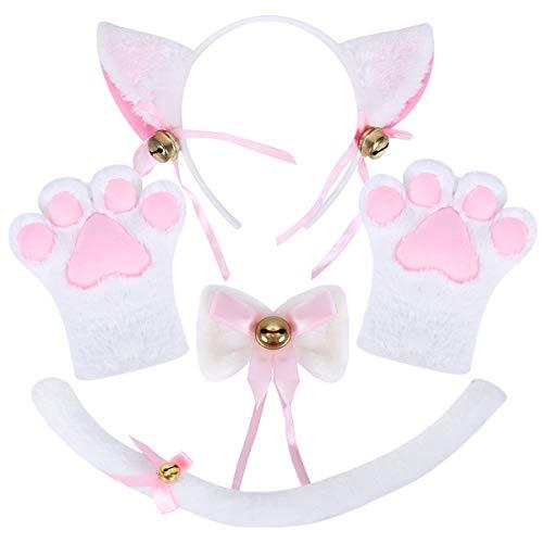 NEOLA Katze Cosplay Set Katze Ohren Katzenschwanz Plüsch Klaue Handschuhe Glocke Lolita Anime Fancy Dress Party Halloween Kätzchen Kostüm für Kinder und Erwachsene (Weiß)