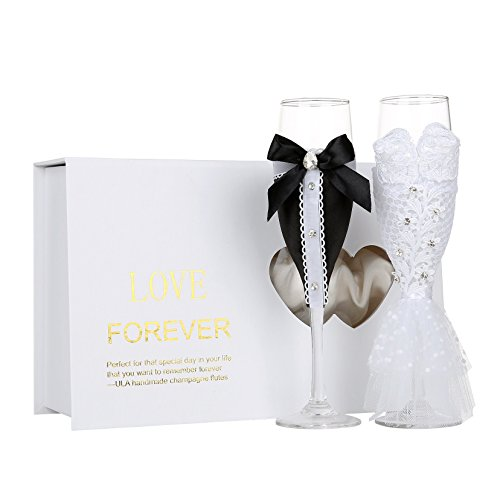 Personalized Wedding Dress Wine Glasses-ULA Handmade Bride and Groom Champagne Flutes for Toasting,Wedding Gifts,Bridal Shower Gifts,Wedding Favors,Couples Gifts,Wedding Decorations(set of 2)