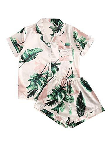 Floerns Women's Notch Collar Palm Leaf Print Sleepwear Two Piece Pajama Set A Multi Print S
