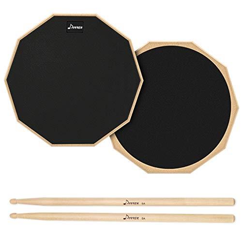 Donner Drum Practice Pad Übungspad 12 Zoll mit Drumsticks,Negro
