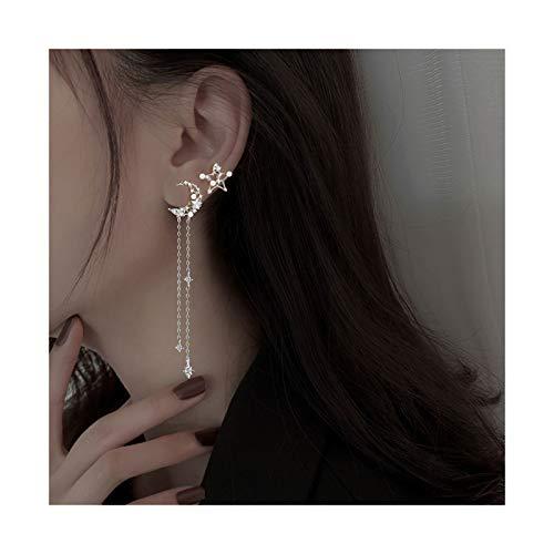 LICHUAN Pendientes asimétricos de plata de ley pendientes de luna y estrella, pendientes largos con diseño de gota de gota para mujeres y niñas (color plata)