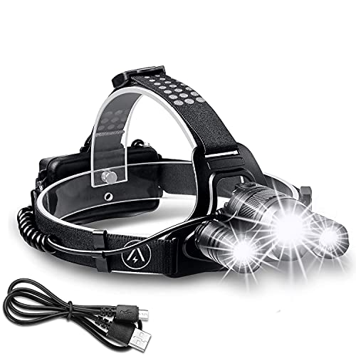 Zukvye Rechargeable Head Torch Zoomable LED Headlight 4 Modes with Red Warning Waterproof Headlamp Perfect for Running Walking Camping Reading Hiking