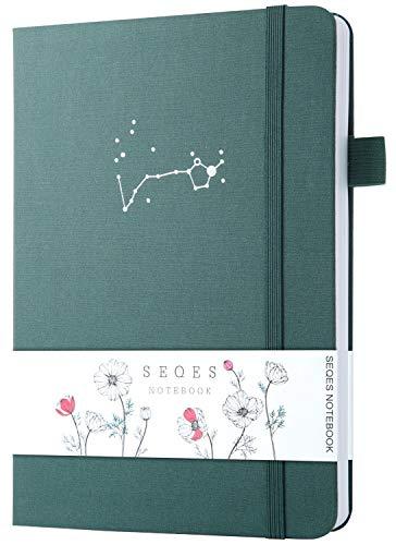 SeQeS - Cuaderno de puntos (A5, 160 g/m², papel a prueba de sangrado, con juego de resaltadores, tapa dura, cuadrícula de puntos con bolsillo interior, revistas con puntos de bala, color verde