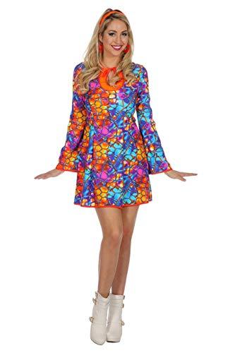 Wilbers Disfraz de hippy para mujer, talla 34, color azul/naranja