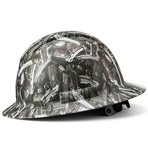 Full Brim Hard Hat Construction OSHA Approved Hardhats, Men Women Safety Helmet, 4 Point, Custom Patriotic Design, Flag Decal, by Acerpal, Pistol Whip, White Hat