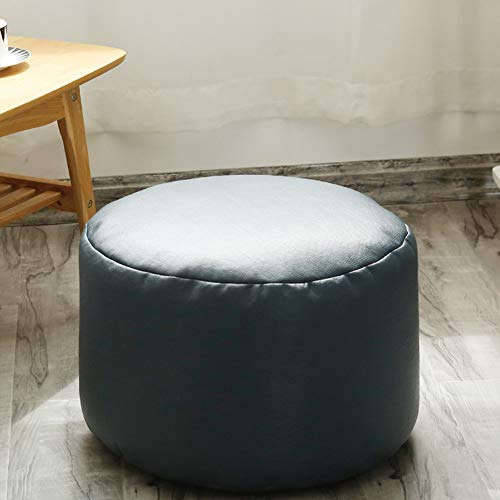 """idee-home Round Pouf Foot Rest - Morocco Footstool Poufs, Small Foot Rest Stool, Modern PU Faux Leather Ottoman Padded Seat Footrest 17.5""""x17.5""""x11"""", Blue"""