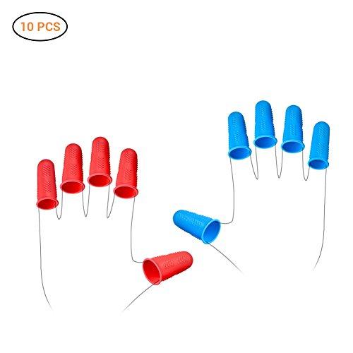 AimdonR Lijmpistool, 12 stuks, silicone vingerbeschermers voor hete lijm, wax, hars, honing, lijm, scrapbooking, naaien in 3 maten, rood en blauw