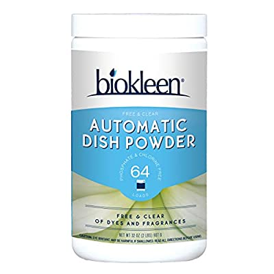 Biokleen Free & Clear Dishwashing Detergent- 64 Loads - Powder, Concentrated, Phosphate & Chlorine Free, Eco-Friendly, Non-Toxic, No Artificial Fragrance, Colors or Preservatives