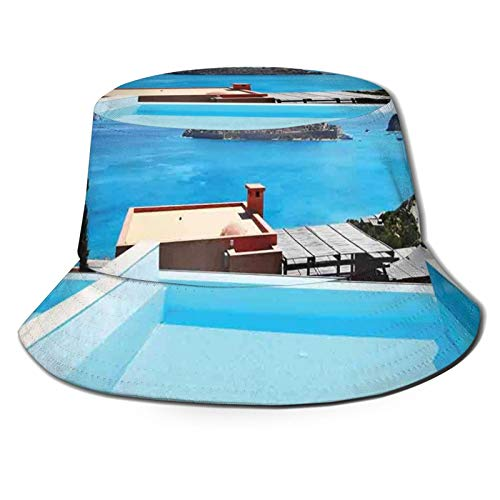 FULIYA Sombrero del conductor del violín del marinero del pescador del verano, hotel de la piscina con una vista de la isla de Creta Grecia Terraza del mar turquesa