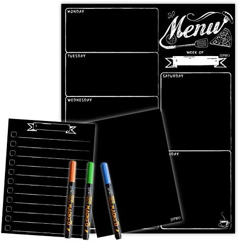 Magnetic Menu Board for Fridge with neon bright liquid chalk markers Weekly Meal Planner with product image