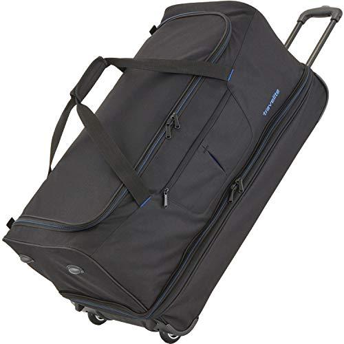Travelite Sac de voyage à roulettes 'Basics' 70cm noir/bleu Borsone, 70 cm, 98 liters, Multicolore (Noir/bleu)