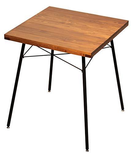 サンニード 棚付き 木製 ダイニングテーブル DT-65 幅98cm ブラウン ブラック 天板 木製 脚部 スチール