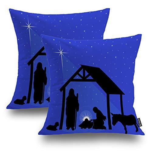 Shrahala Fundas de Almohada de Navidad, Fundas de Almohada Decorativas de Navidad Religiosa Estrellas de Belén Funda de Cojín para Sofá Dormitorio Coche Funda de Cojín Cuadrado 18 x 18 pulgadas Negro, Juego de 2