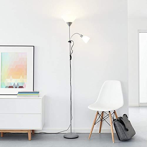 Piantana con Luce LED da lettura, 1 LED da 10W, E27/1 LED da 3W E14,LED incl., 810Lumen, 2700K Bianco caldo, metallo/plastica, colore: Argento/Bianco