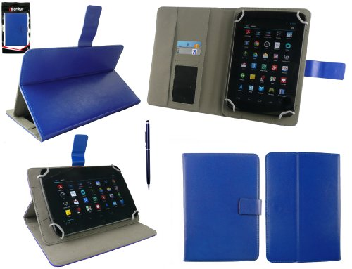 Emartbuy® AlpenTab Heidi 7 Zoll Tablet PC Universalbereich Blau Multi Winkel Folio Executive Case Cover Wallet Hülle Schutzhülle mit Kartensteckplätze + Blau 2 in 1 Eingabestift