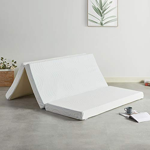 Best Price Mattress 4 Inch Trifold Memory Foam Mattress Topper with Cooling Gel Infusion, CertiPUR-US Certified, Queen
