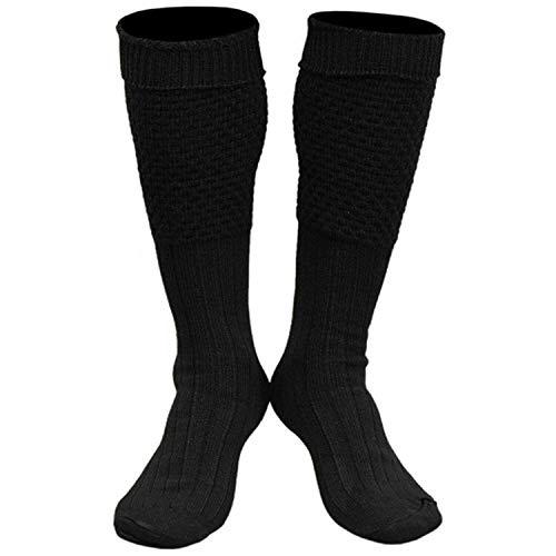 Boolavard 2 Paar Trachten Socken, Oktoberfest Socken für Damen und Herren in Braun, Grün, Schwarz, Grau, Weiß- Gr. 35-47 (XL : 44-45, Schwarz)