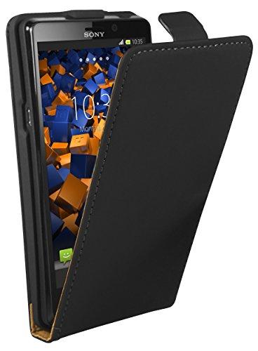 mumbi Tasche Flip Case kompatibel mit Sony Xperia T Hülle Handytasche Case Wallet, schwarz