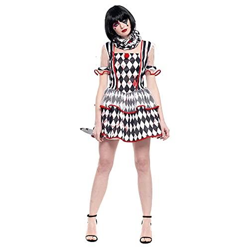 Disfraz Payasa Asesina Mujer Rombos Blanco y Negro [Talla M]Tallas Adulto S a LDiseo Original Disfraces Halloween para Mujer