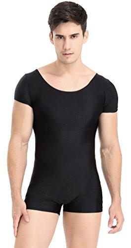 Speerise Mens Spandex Bodysuit Workout Dance Biketard Unitard, XXL, Black