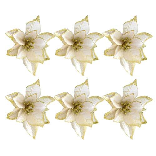 ZGQA-GQA 30pcs Christmas Tree Flower Xmas Golden Glitter Simulation Flower Xmas Wreath Garland Decor for Holiday Party