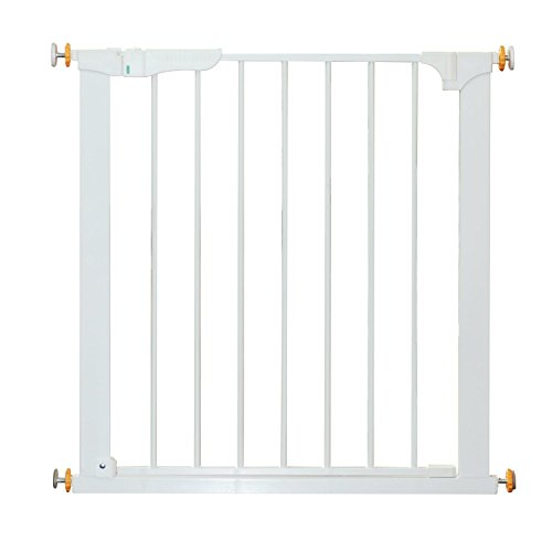 HOMCOM Puerta de Metal Blanca de Escalera o Pasillo para Mascotas Tipo Barrera de Seguridad 74-95cm