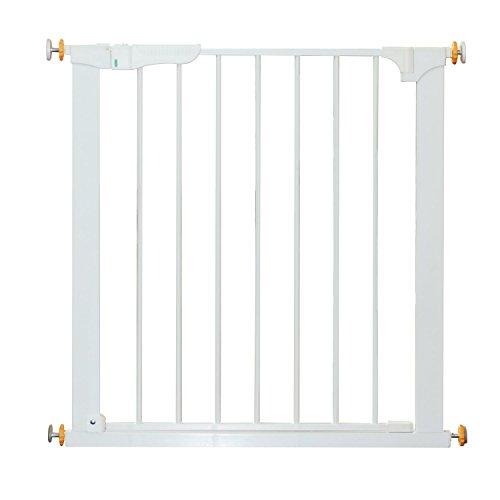 HOMCOM Puerta de Seguridad de Metal, Barrera de Seguridad Blanca de Escalera o Pasillo para Niños y Perros 74-95cm