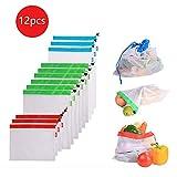 VOANZO 12 unids Malla de Frutas y Verduras Reutilizable Lavable Eco Friendly Bags for Grocery Shopping Almacenamiento de Frutas Vegetales Juguetes