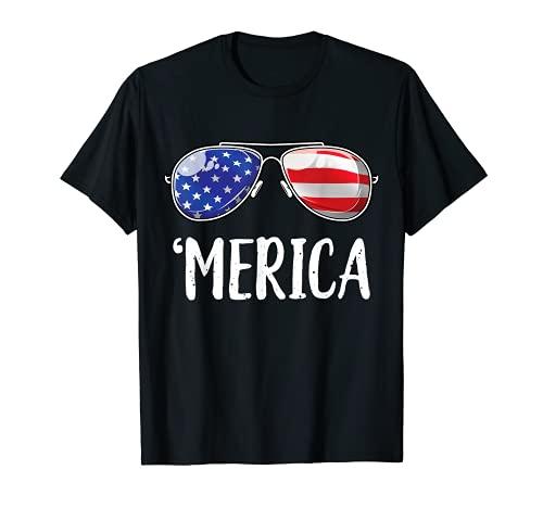 Merica Sunglasses 4th of July Boys Girls Men Women USA Flag T-Shirt